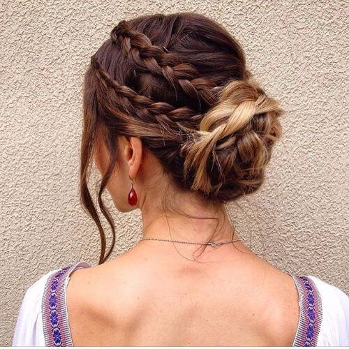 double braid mid bun