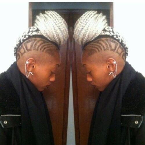 undercut and box braids bun