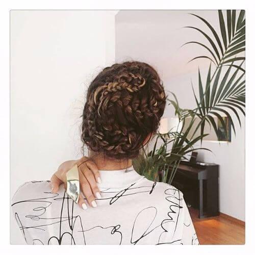 long hair braided bun hairstyle