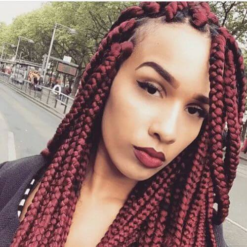 burgundy box braids styles