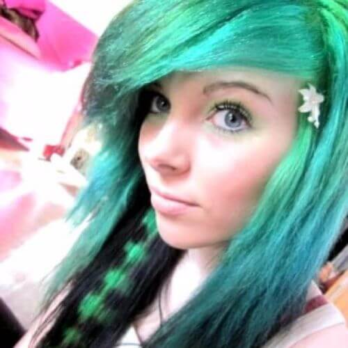 green coontail hair emo hairstyles for girls