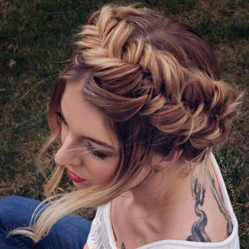 fishtail crown braid braided updos
