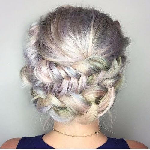 messy rainbow hair updo