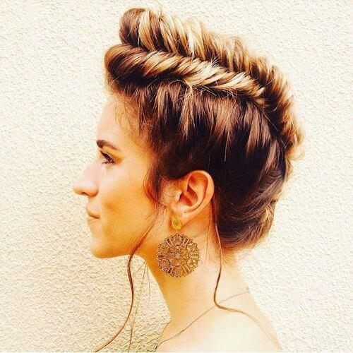 goddess braids faux hawk updo