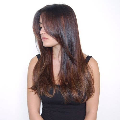 long straight hair dyed caramel
