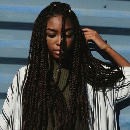 thick long box braids styles