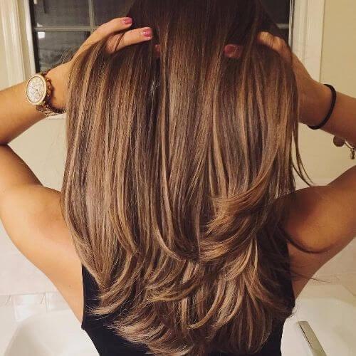 hazel caramel hair color on long hair