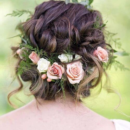 floral accessory braided low bun