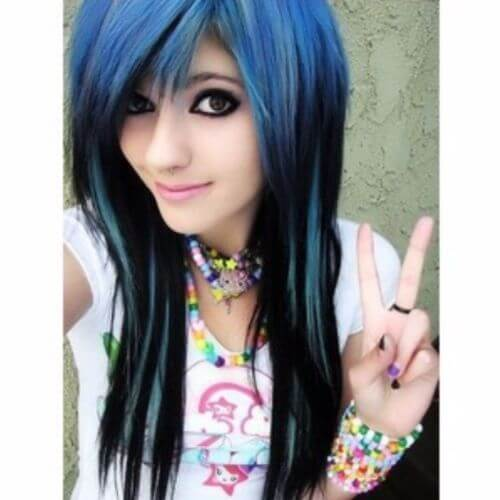 black and blue emo hairstyle