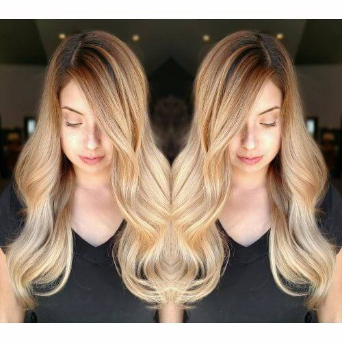 loose waves in caramel hair color