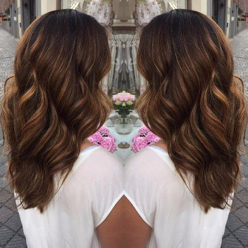 wavy hair in dark caramel hair color