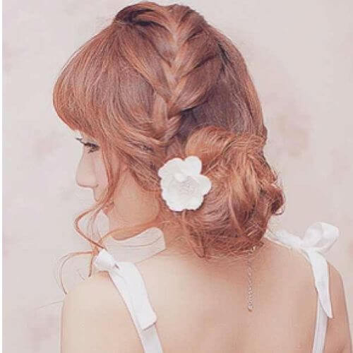 low bun braided updos