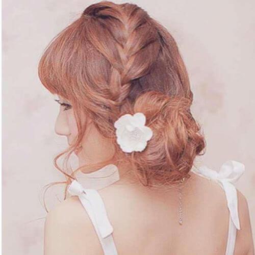 low bun braided updos