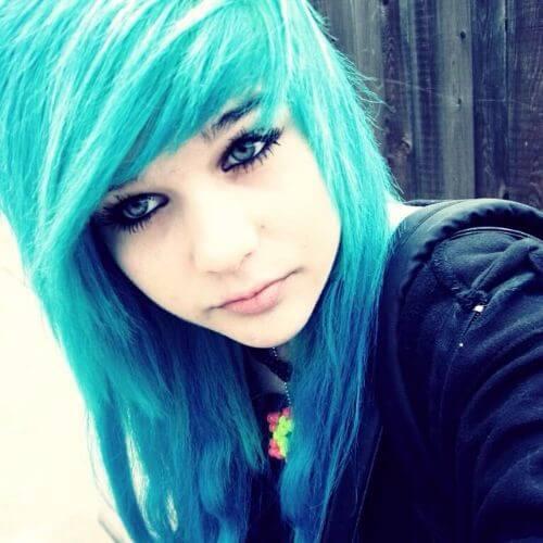blue hair emo haircut