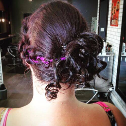 curled updo for short hair