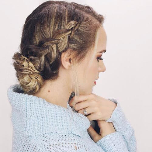 side braid low bun updo