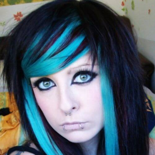 blue highlights on black hair scene hairstyle