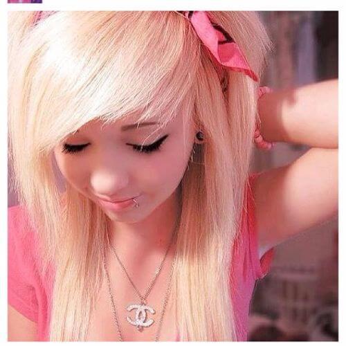 rose blonde emo hair