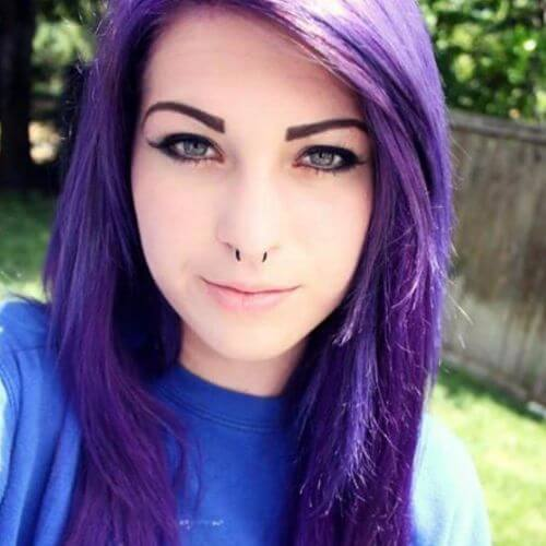 Pastel Purple. Cool Emo Hairstyle for Girls