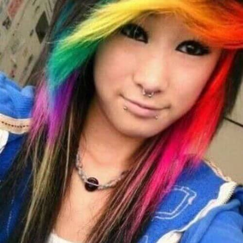 long emo hairstyles for girls rainbow hair