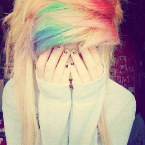 rainbow bangs emo hairstyle for girls