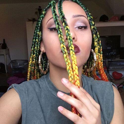 rainbow box braids styles