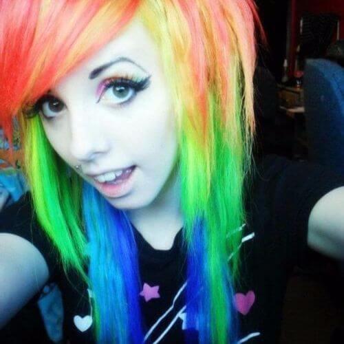 emo rainbow hair