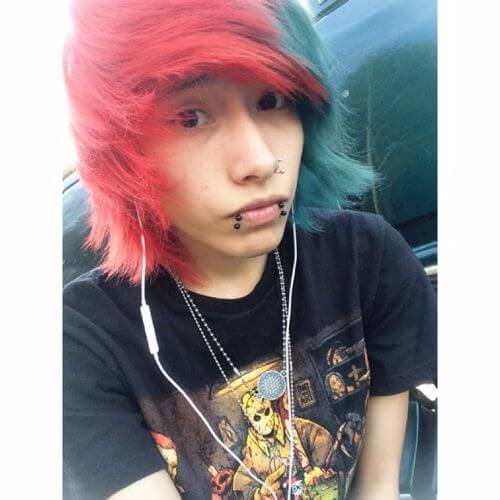 red and green emo hairstyles for guys
