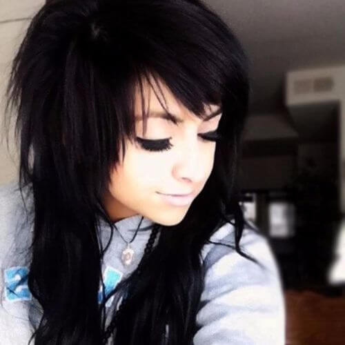 black hair girls emo hair