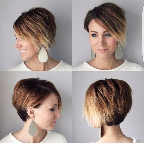 pixie haircut on caramel hair