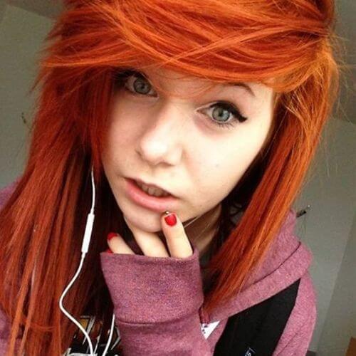 tangerine hair emo haircut