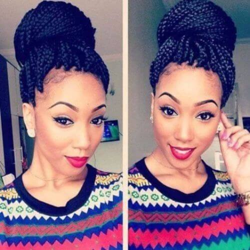 thick box braids high bun