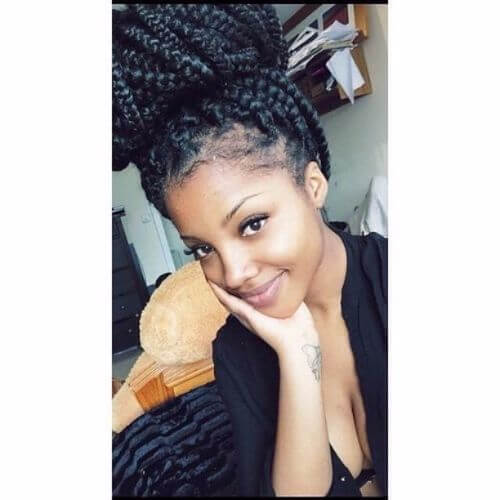 high bun box braids styles