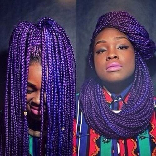 purple box braids hairstyle