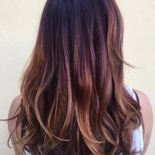 caramel balayage on auburn hair