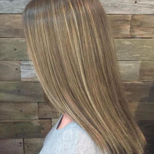 dark blonde hair with caramel balayage