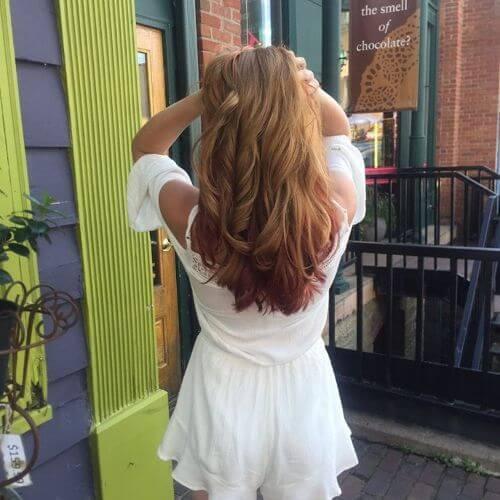 subtle red highlights on blonde hair