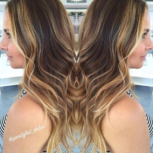caramel balayage long thin hair