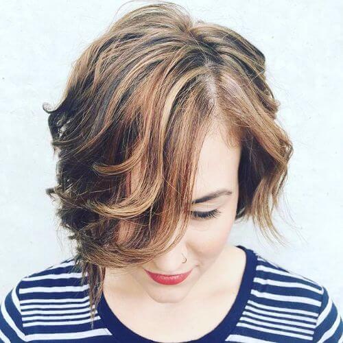 golden caramel highlights on short brown hair