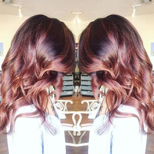 chocolate highlights and caramel highlights on dark brown hair