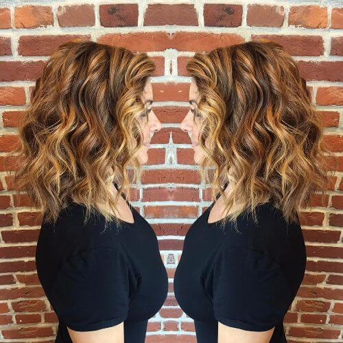 medium lob haircut on caramel balayage hair