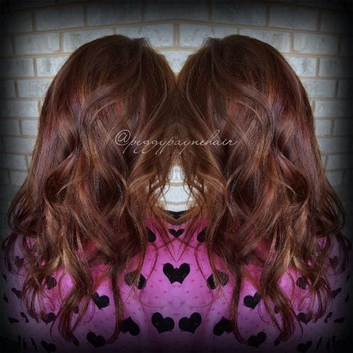 caramel highlights on red brown hair