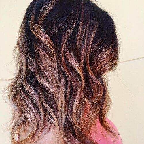 red and caramel highlights on brown hair