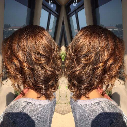 short brown hair with caramel highlights