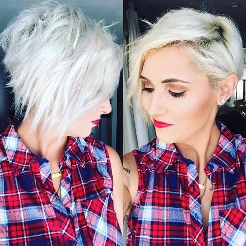 blonde highlights on outgrown pixie haircut
