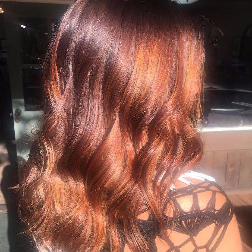 caramel highlights on red hair