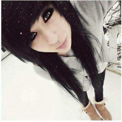 black hair long emo hairstyles for girls
