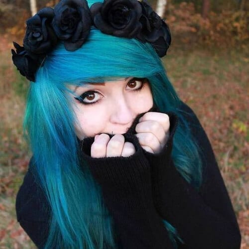 flower long emo hairstyles for girls