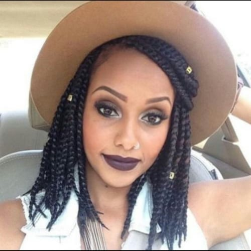 medium box braids with hat