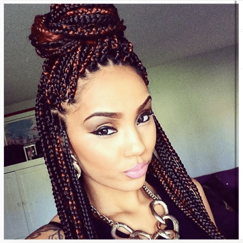 playful colors in box braids